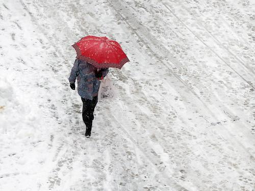street winter people snow umbrella traces viewfrommywindow badreichenhall