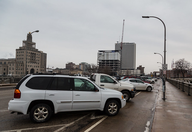 Metered Parking and Bike Lane on 3rd Avenue Bridge - Cedar Rapids, Iowa