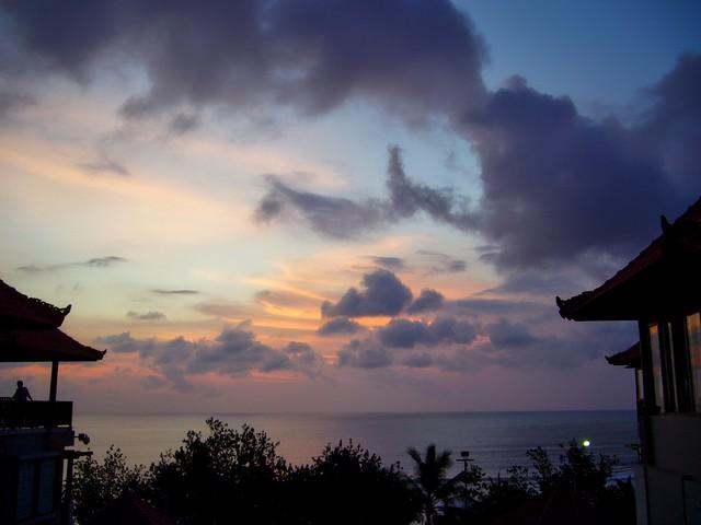 Sunset over Kuta bay on Bali, Indonesia