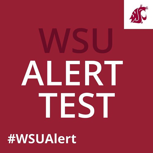 #WSUAlert system test @WSUPullman is TOMORROW, Tuesday Feb 23rd at 12:05 p.m. Messages by text, email, phone & outdoor siren system. More info at alert.wsu.edu.
