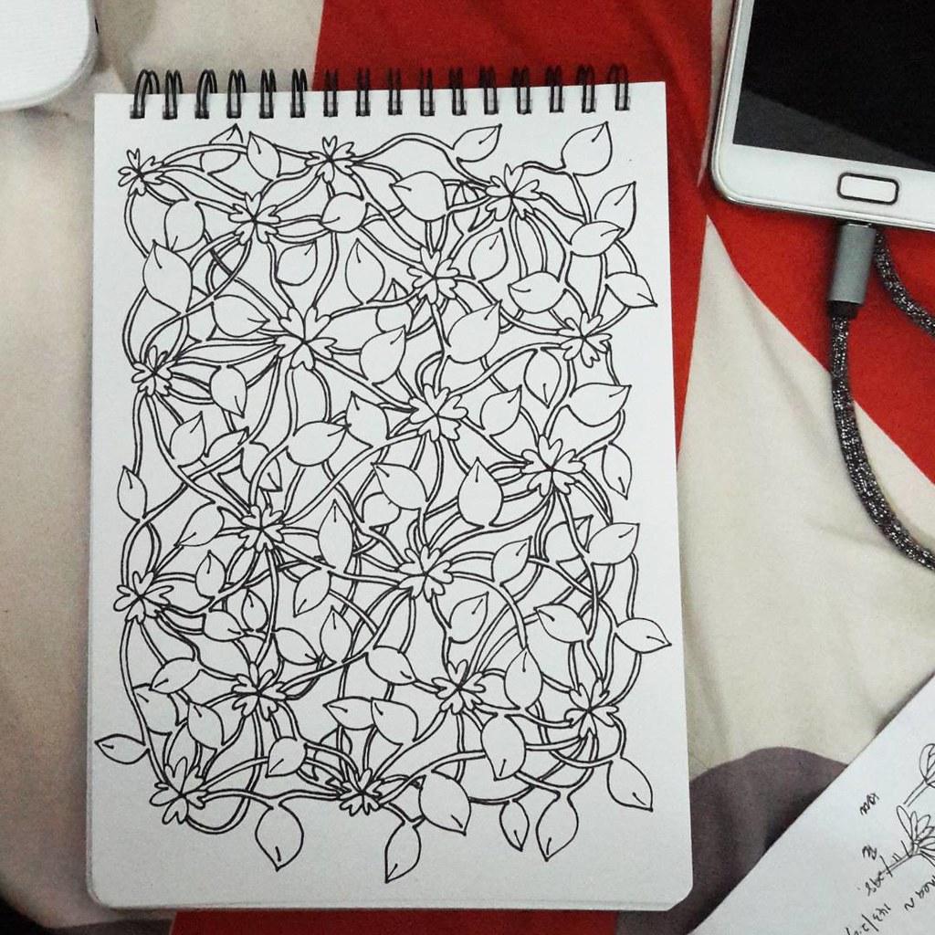 29032016 flowers lines vines leaves doodles zentangl