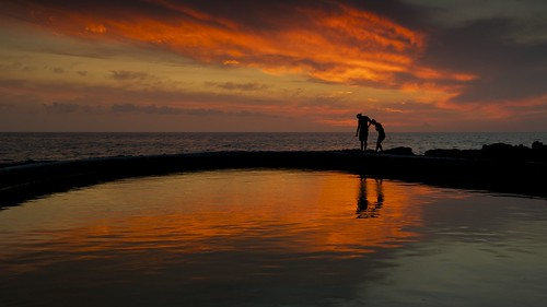 ocean sunset sea sky reflection colors silhouette hawaii pacific bigisland tidepool kona ernogy