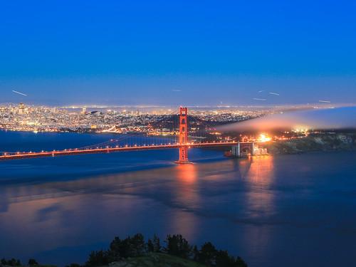 夜色 美國 舊金山 金門大橋 黃昏 藍調 加州 車軌