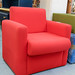 Bright red fabric waiting chair