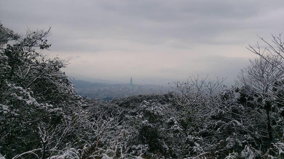 全球暖化的科學數據指出,台灣有可能在本世紀末告別冬天。圖為冰封的汐止五指山,俯瞰台北101。本報資料照。攝影:陳炳燕。