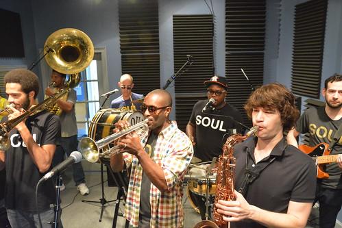 Soul Brass Band at WWOZ.  Photo by Kichea S Burt