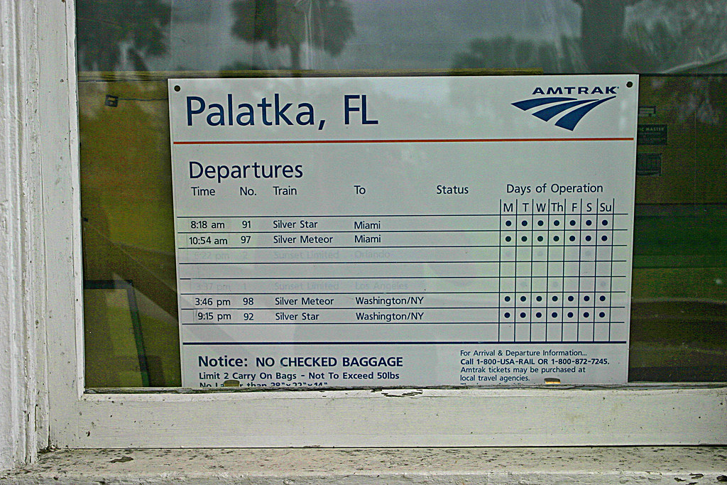 Palatka AMTRAK Depot, Train Schedule - (5 of 12) | I took th… | Flickr