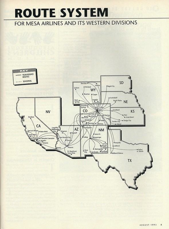 Mesa Airlines western divisions route system, August 1993
