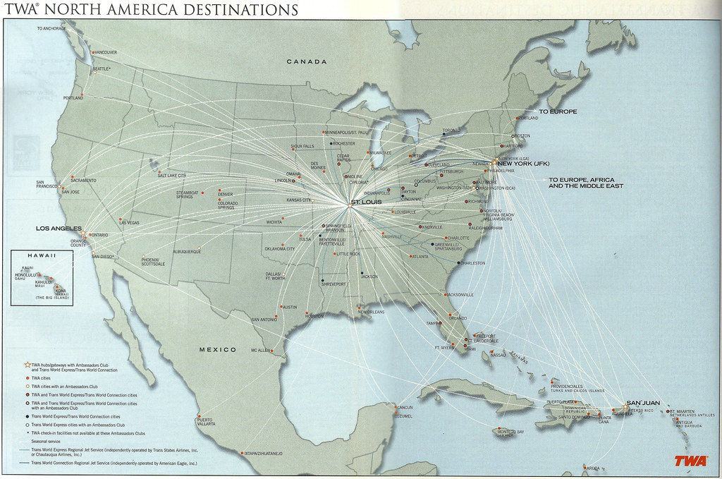 Map Of New York 2001.Airline Maps Twa North America Destinations January 2001 A