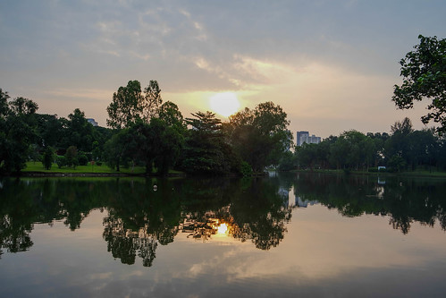 trees sky sun lake reflection water sunrise singapore juronglakepark