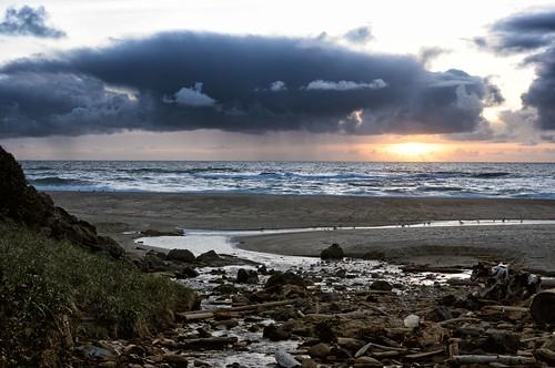 ocean sunset sea sky beach water clouds oregon creek stream waves pacificocean pacificnorthwest oregoncoast glenedenbeach
