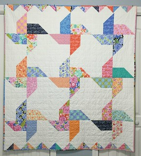 "Quilt Finish 4/23/2016- ""Jolly Pinwheels"" pattern by Andy Knowlton @abrightcorner -  Fabric is Honey Honey by Kate Spain"
