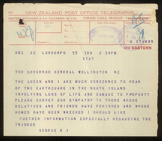1931 Hawkes Bay Earthquake - Telegram from King George V