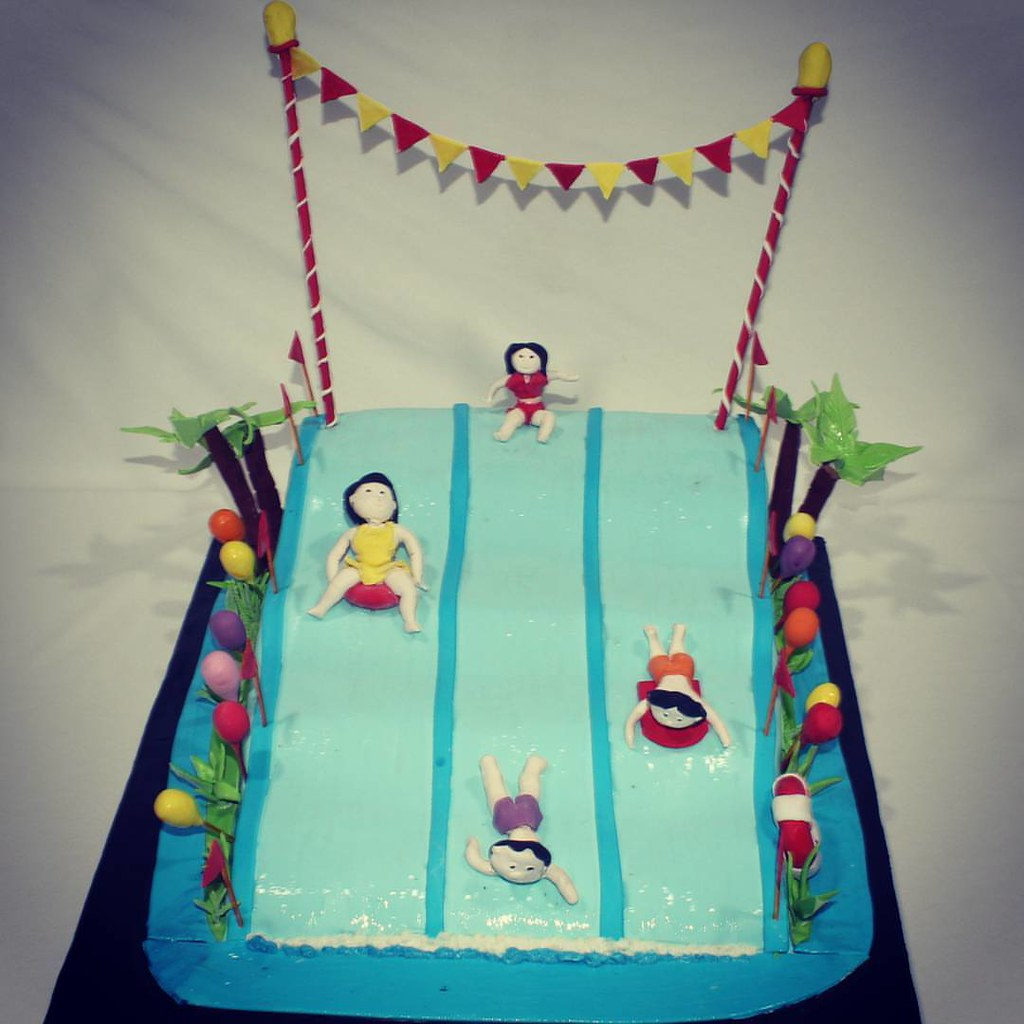 Prime Hot Summer Have A Pool Party Themed Birthday Cake With F Flickr Funny Birthday Cards Online Inifodamsfinfo