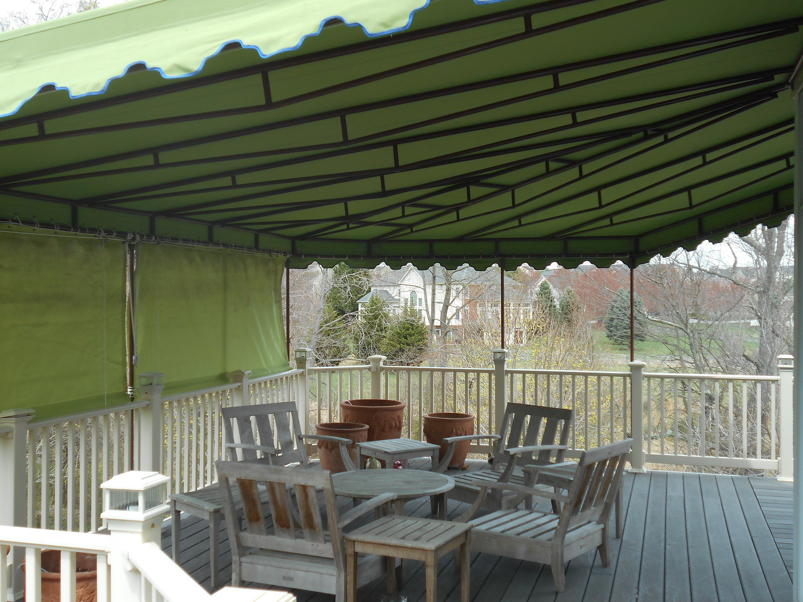 Deck Awning with Privacy Curtains