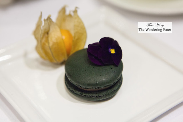1837 black tea and black currant macaron and fresh ground cherry