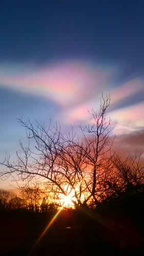 ireland sunrise rainbow nacreousclouds motherofpearlclouds