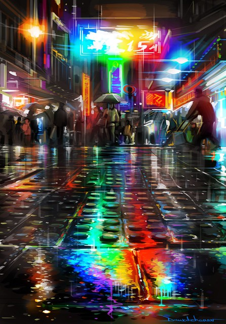 'Streets Of Colours' - Hong Kong inspired paintings / Temple Street