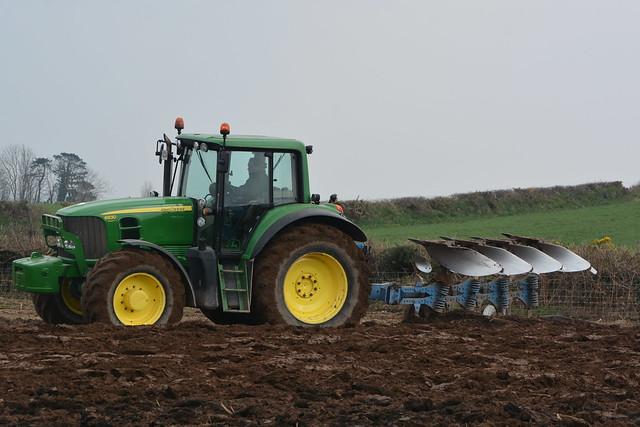 John Deere 6830 Tractor with a Lemken EurOpal 7X 4 Furrow Plough (4)