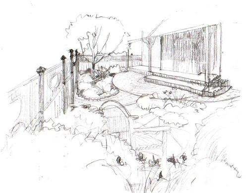 Sketch Idea for Entry Garden Patio & Fence