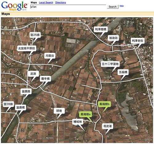 google map:五十二甲風箱樹位置圖(西側)