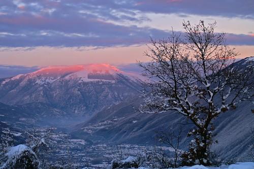 sunset italy snow landscape tramonto minolta 5d montain dux rieti dvx montegiano