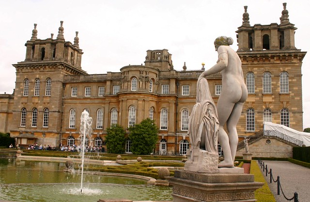 Blenheim Palace with skinney-dipping statue, near Oxford