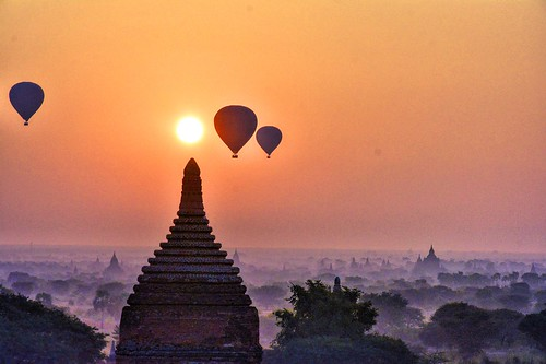 travel sky fog skyline architecture sunrise landscape asia cityscape burma temples myanmar plains bagan