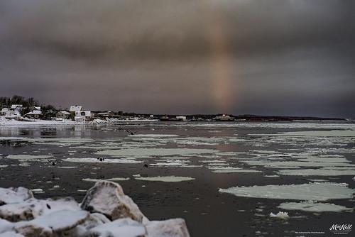 ocean colour ice sunrise rainbow atlantic