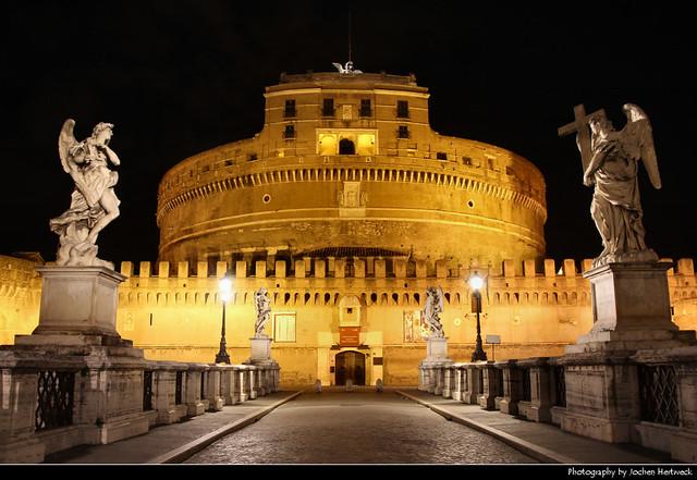 Castel Sant'Angelo & Ponte Sant'Angelo @ Night, Rome, Italy