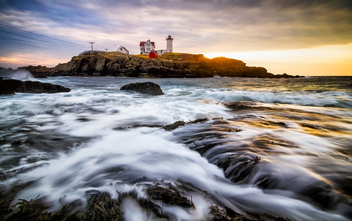 ocean york sky lighthouse beach water sunrise day waves cloudy maine newengland coastline nubblelight yorkbeach nubblelighthouse capeneddicklight capeneddicklighthouse robertallanclifford robertallancliffordcom