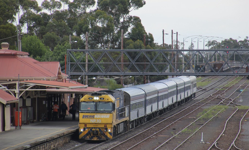 NR30 on the Overland stops for a crew change at Dimboola station by bukk05