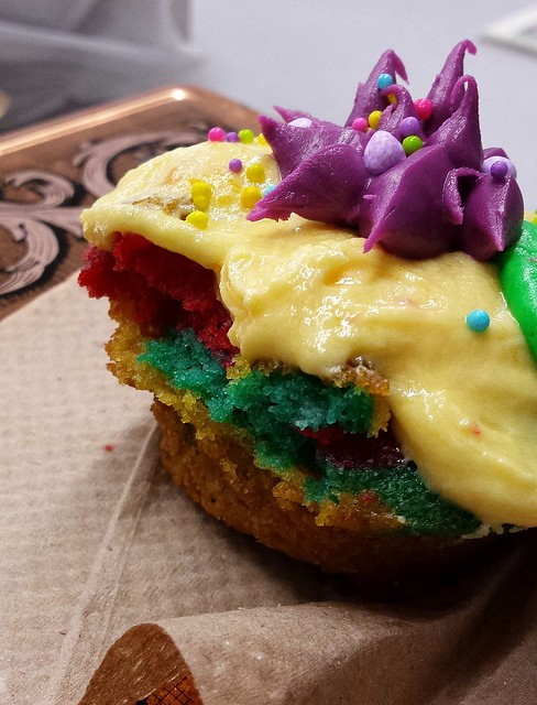 Tie-Dyed Vanilla Cupcakes with French Vanilla Frosting (