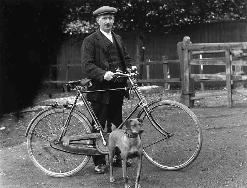 Man with Bike and Pet Dog circa 1900 (archive ref DDX1319-2-3)