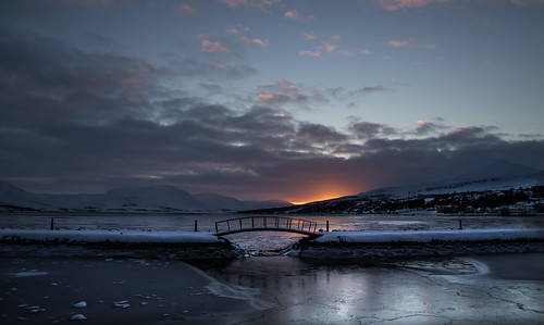 bridge sunset sea sky sun snow nature iceland little sunny merrychristmas chrismas akureyri littlebridge pollurinn