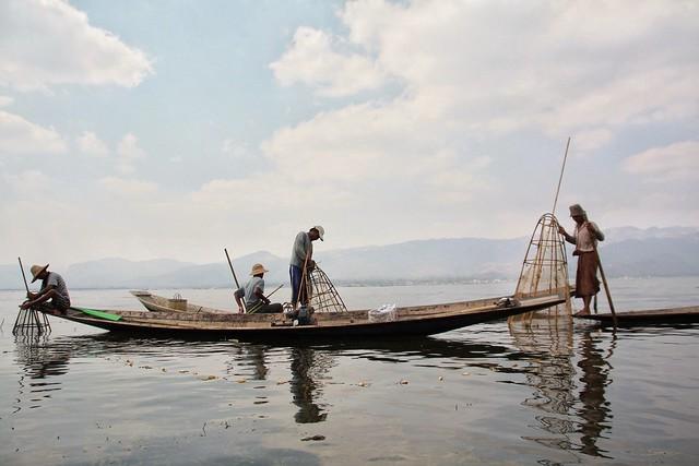 Traditional fishermen, Inle Lake-Myanmar