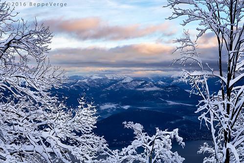 morning winter snow mountains alps sunrise dawn alba neve snowfall inverno alpi nevicata mottarone beppeverge