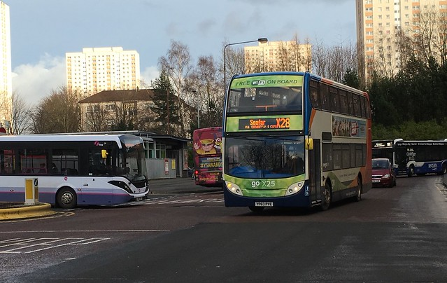 Old meets new. Stagecoach Western's Enviro 400 YP63 PVE (15945) seen entering Buchanan Bus Station on the X28