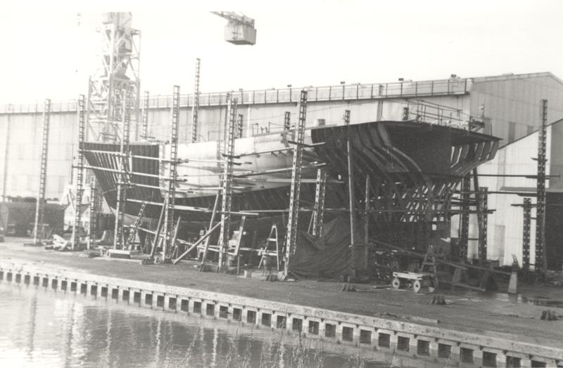 'Navena' stern trawler under construction on stocks at Grovehill 1960s (archive ref DDX1525-1-3)
