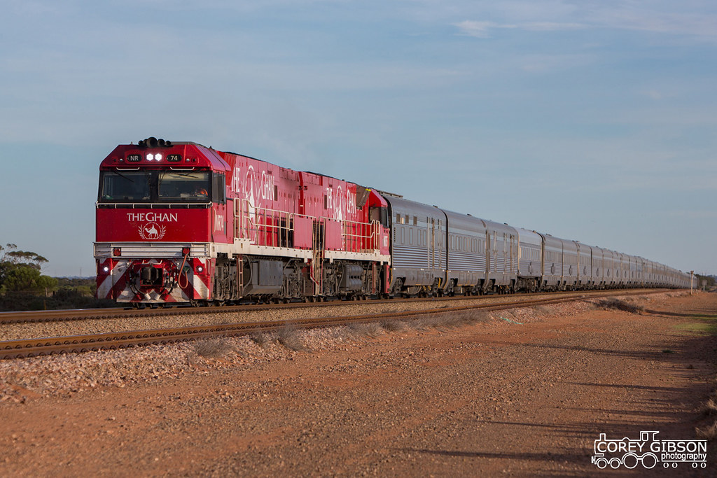 2 Camels, NR74 & NR75 with The Ghan 4DA8 as it waits at Winninowie by Corey Gibson
