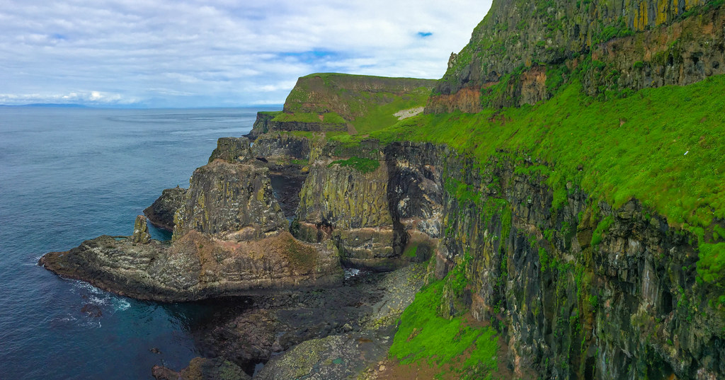 A view of the Rathlin Island cliffs and caves
