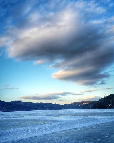 winter sunset sky lake nature clouds landscape frozen vermont weatherphotography