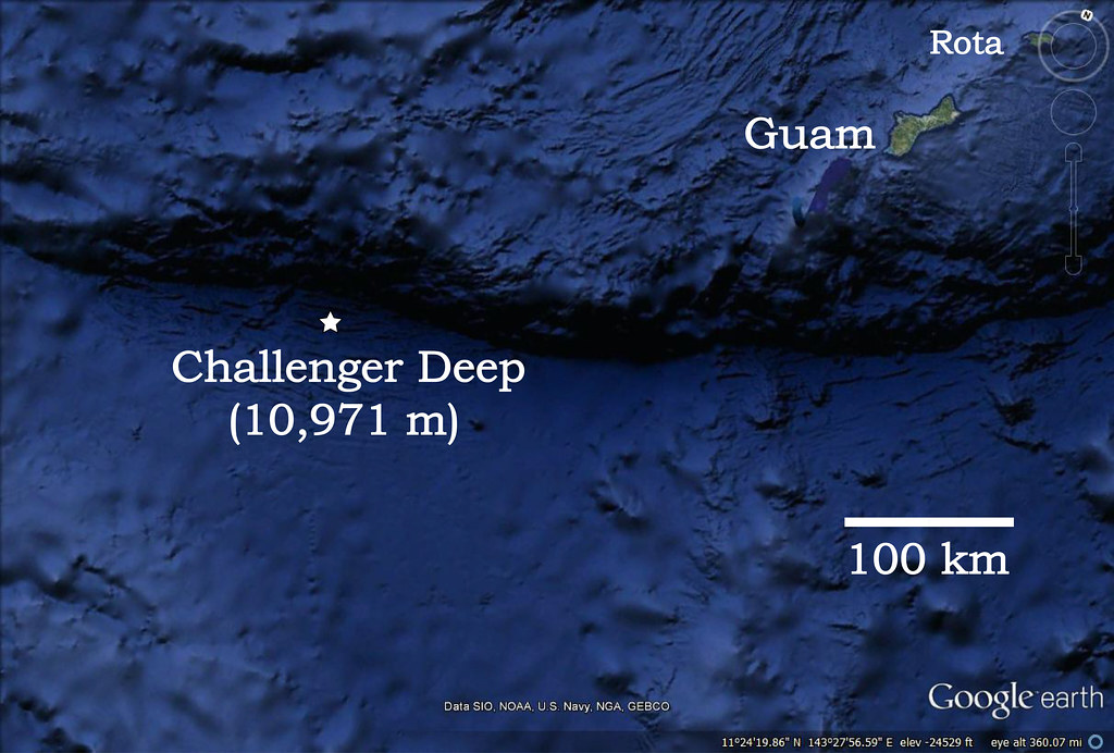 ChallengerDeep | A modified Google earth map showing the loc ...