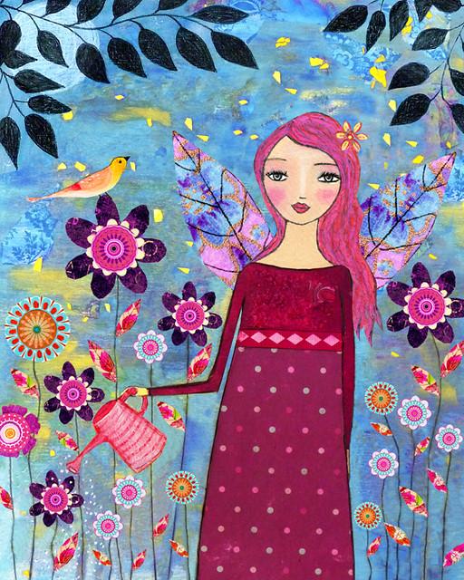 Mixed Media Girl Painting - Secret Garden by Sascalia