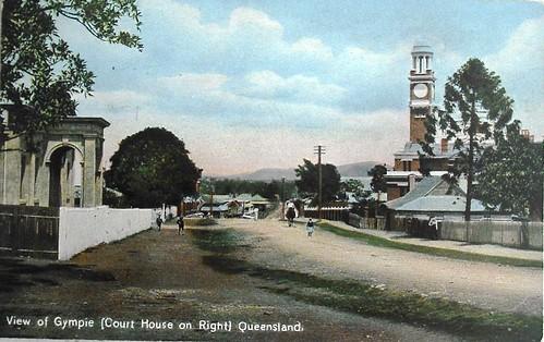 gympie queensland australia vintage tinted postcard colouredshellseries courthouse aussiemobs
