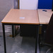 Beech laminate  and black metal framed table