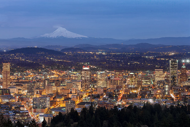Portland Cityscape During Blue Hour