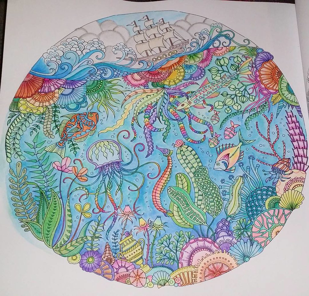 Finally finished my first page of my Lost Ocean coloring b ...