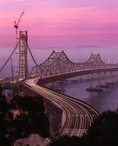 old bridge light sunset color fog sunrise island dawn evening bay construction san francisco long exposure treasure dusk no steel low trails s gone east velvia curve yerba provia demolished buena rz67 cantilever e100