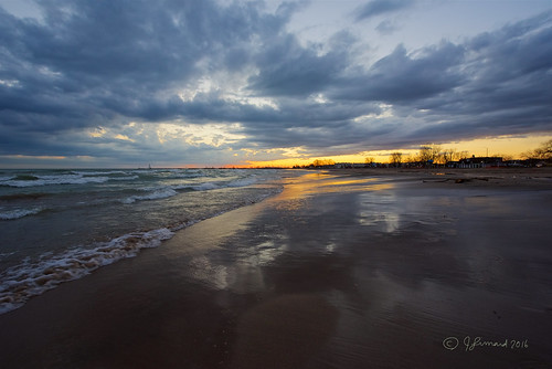 sunset sky ontario beach clouds reflections waves lakeontario cobourg